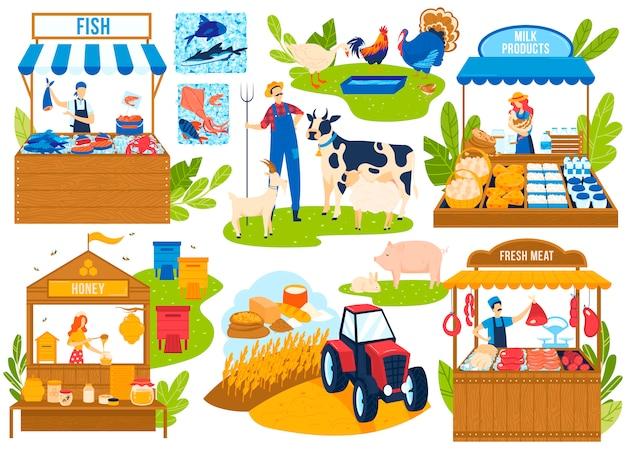 Insieme dell'illustrazione di vettore del mercato alimentare dell'azienda agricola.