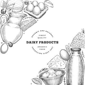 Modello di cibo di fattoria. illustrazione di latticini disegnati a mano. banner di diversi prodotti lattiero-caseari e uova di stile inciso. sfondo di cibo retrò.