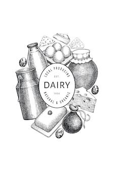 Modello di cibo di fattoria. illustrazione di latticini disegnati a mano. banner di diversi prodotti lattiero-caseari e uova di stile inciso. sfondo di cibo vintage.
