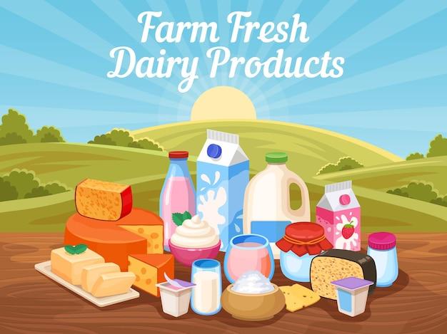 Latticini freschi di fattoria. latte di vacca naturale, formaggio e yogurt nel paesaggio rurale con campo di campagna. manifesto di vettore di cibo biologico del villaggio. ingrediente dell'illustrazione della dieta, nutrizione lattea della colazione