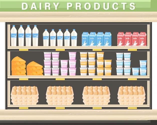 Azienda agricola per lo shopping di prodotti caseari freschi Vettore Premium