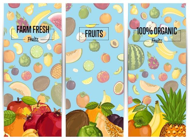Volantini verticali di frutta fresca dell'azienda agricola messi