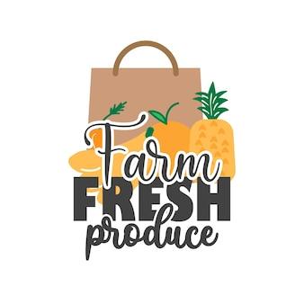 Illustrazione di tipografia di iscrizione di citazione di prodotti freschi di fattoria