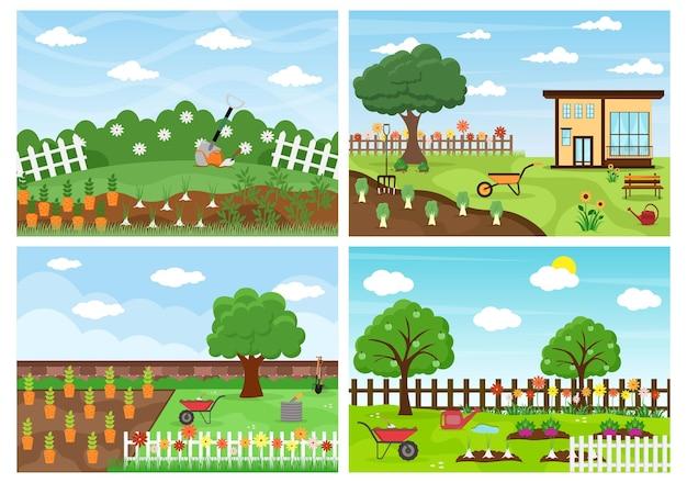 Vettore del fondo del giardiniere dell'azienda agricola