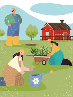 Agricoltori del gruppo dell'azienda agricola che piantano l'albero delle piante con l'illustrazione dell'annaffiatoio