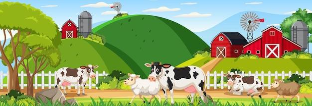 Scena di paesaggio orizzontale della fattoria con animali da fattoria