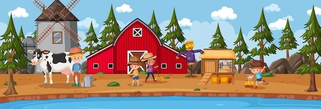 Scena di paesaggio orizzontale di fattoria con personaggio dei cartoni animati di bambini contadini