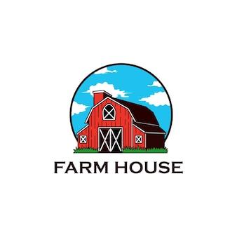 Logo di erba dell'annata di fattoria casa agricoltura