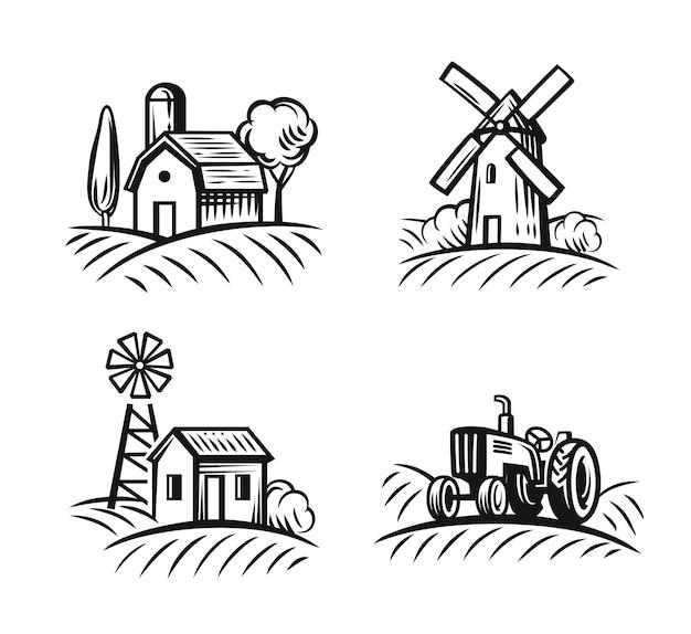 Emblema della fattoria per azienda di alimenti biologici