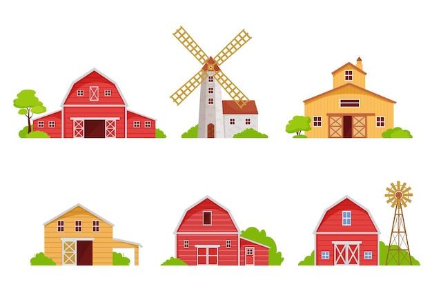 Set di case coloniche e fienili. edifici in legno rosso per l'alloggio di stoccaggio del grano architettura rustica mulino agricolo e mulini a vento per la macinazione dei raccolti che generano elettricità. vettore naturale del fumetto.