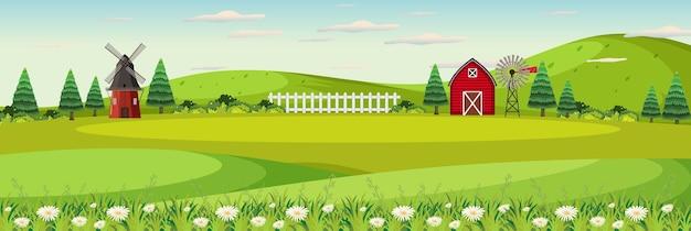 Paesaggio dell'azienda agricola con campo e fienile rosso nella stagione estiva