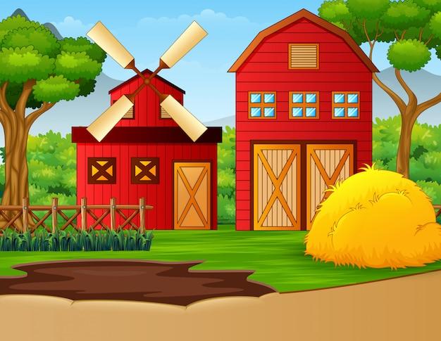 Paesaggio agricolo con capannone e mulino a vento Vettore Premium
