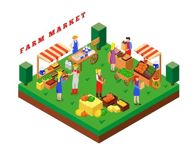 Composizione isometrica nel mercato locale dell'azienda agricola con testo e piattaforma quadrata con illustrazione di prodotti alimentari e tende della gente