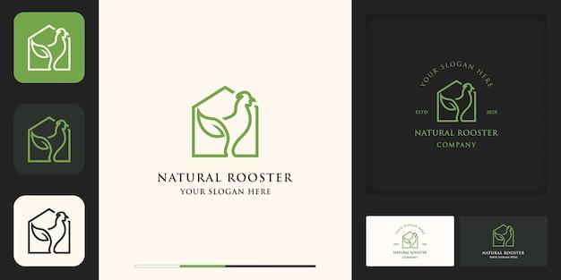 Logo della fattoria, logo della casa con foglie di pollo con design della linea e biglietto da visita