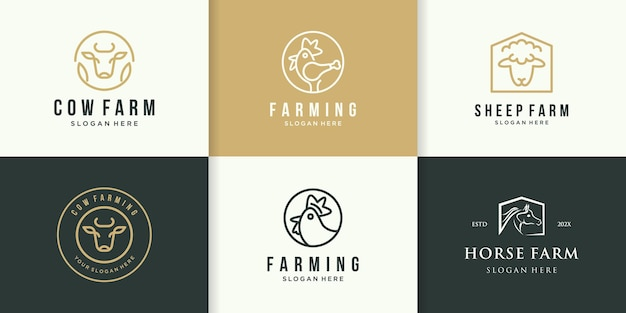 Collezione di loghi della fattoria per ispirare con il concetto di linea
