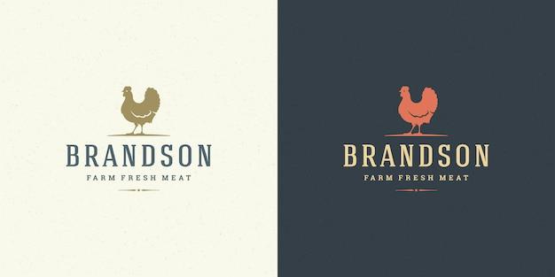 Siluetta del pollo dell'illustrazione di vettore di logo dell'azienda agricola buona per la macelleria o il distintivo del ristorante