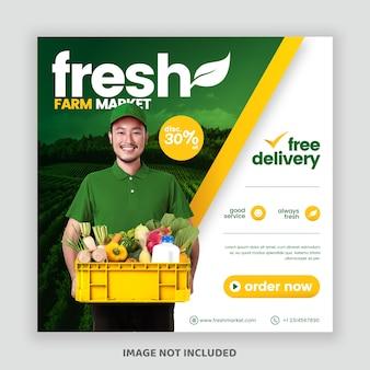 Banner di post instagram affari mercato agricolo