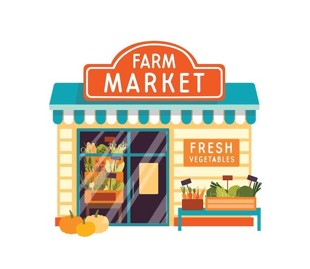 Illustrazione vettoriale piatto mercato agricolo. esterno dell'edificio del negozio di alimentari. facciata del negozio di verdure con l'insegna isolata su fondo bianco. chiosco con verdure fresche. drogheria con mais in vetrina.