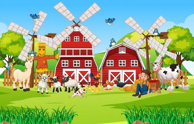 Fattoria nella scena della natura con fattoria degli animali fienile e mulino a vento