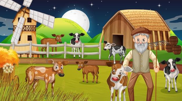 Fattoria di notte con vecchio contadino e animali da fattoria