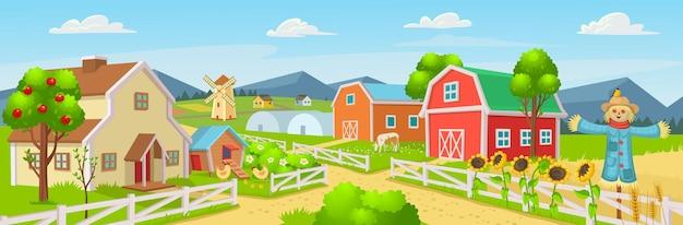 Panorama di fattoria con un pollaio in serra, fienile, case, mulini, campi, alberi