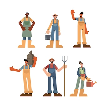 Farm people icon collection design, agronomia lifestyle agricoltura raccolta e illustrazione di tema di agricoltura
