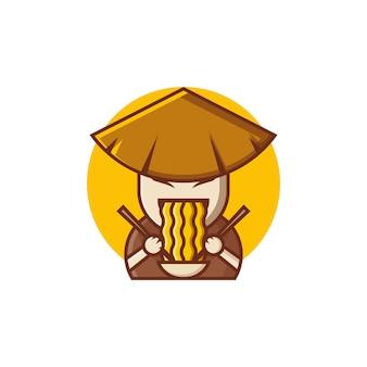 Design del logo ramen fattoria con illustrazioni in stile concetto carino e cartone animato per badge, emblemi e icone