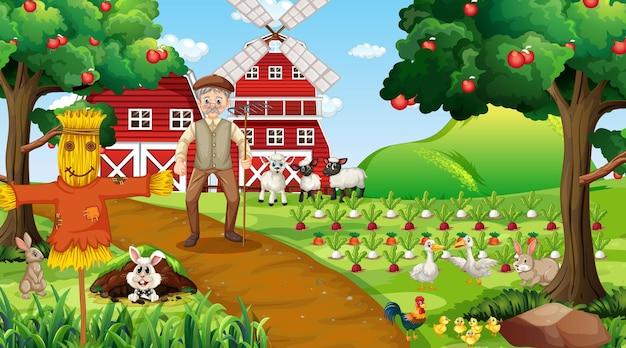 Scena di fattoria durante il giorno con vecchio contadino e simpatici animali
