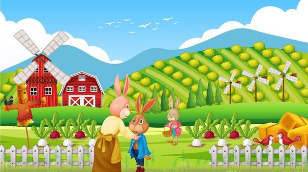 Scena della fattoria di giorno con la famiglia dei conigli