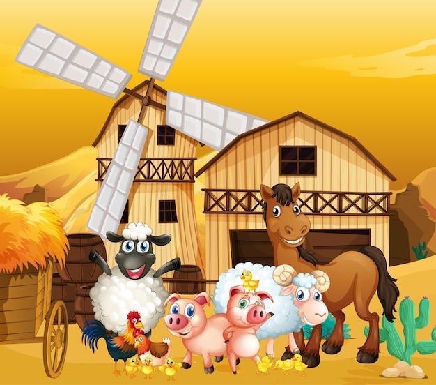 Scena di fattoria in natura con fienile e mulino a vento e simpatico animale