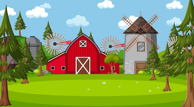 Scena di fattoria in natura con fienile e mulino a vento
