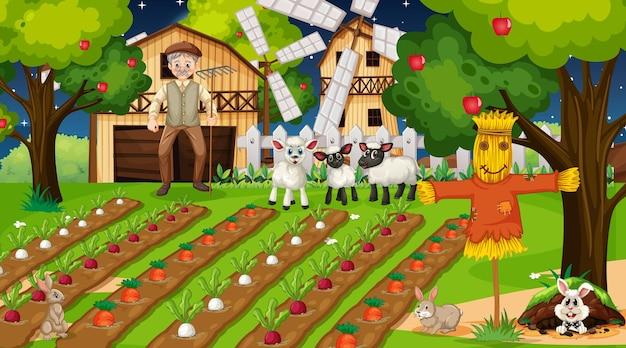 Scena della fattoria di notte con il vecchio contadino e simpatici animali