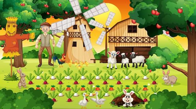 Scena dell'azienda agricola al tramonto con il vecchio contadino e simpatici animali