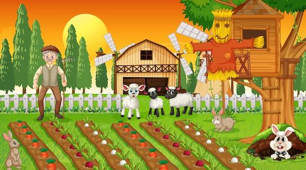 Scena di fattoria al tramonto con vecchio contadino e simpatici animali