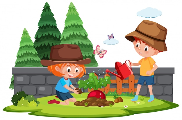 Coltivi la scena con il ragazzo e la ragazza che piantano la verdura
