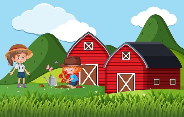 Scena dell'azienda agricola con bambini che piantano fiori nella fattoria
