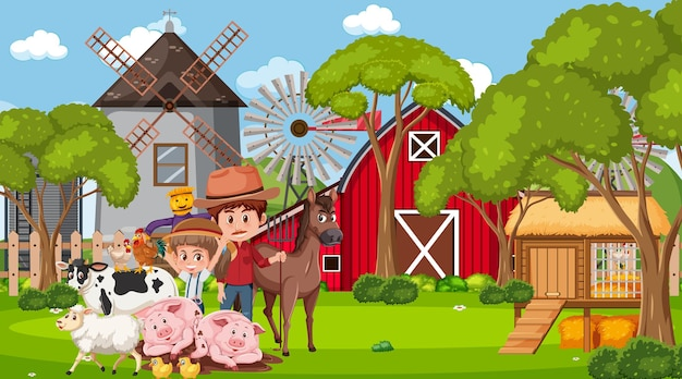 Scena di fattoria con personaggio dei cartoni animati contadino e animali da fattoria