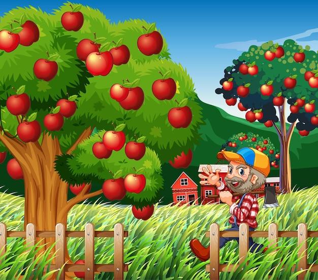 La scena dell'azienda agricola con il coltivatore raccoglie le mele