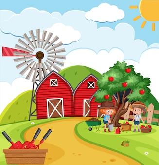 Scena dell'azienda agricola con le ragazze che raccolgono le mele nella fattoria