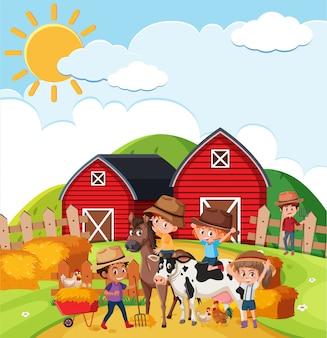 Scena di fattoria con molti bambini e animali nella fattoria