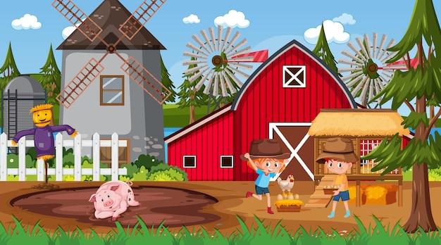 Scena della fattoria con molti personaggi dei cartoni animati per bambini e animali da fattoria