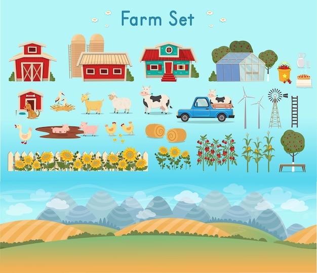 Set di fattoria. panorama dell'azienda agricola con serra, fienile, case, mulini, campi, alberi, girasoli, pomodori, mais, pagliai, cane, galline, oche, cicogne in un nido, capre, pecore, mucche, maiali, latte.