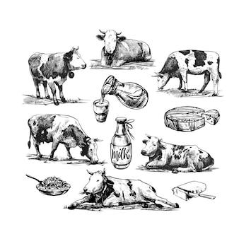 Fattoria con mucche e latticini illustrazione di incisione vettoriale vintage