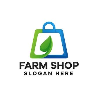 Design del logo sfumato del negozio di fattoria