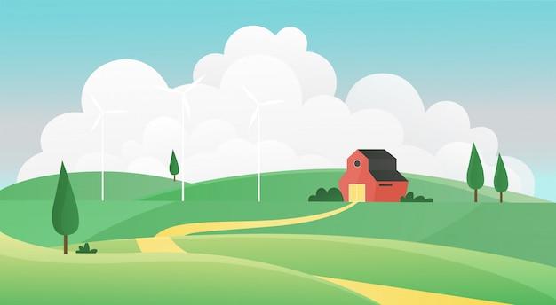 Illustrazione del paesaggio estivo dell'azienda agricola. scena del fondo della campagna del terreno coltivabile del fumetto con la strada alla casa degli agricoltori attraverso il campo di erba verde, le colline del prato, i pascoli e i mulini a vento, scenario della natura