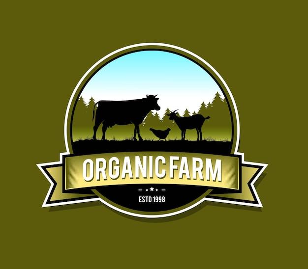 Disegno del modello di fattoria per l'emblema del distintivo del logo e altri
