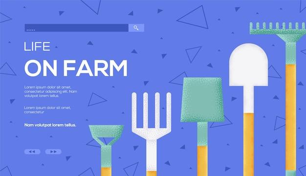 Vita di concetto di attrezzi agricoli sul modello web di fattoria.
