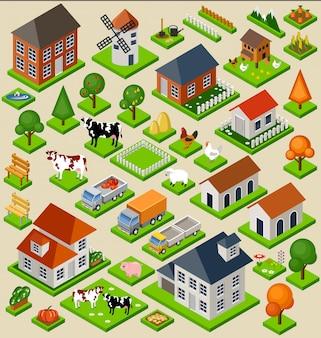 Insieme isometrico di blocchi giocattolo fattoria. isolato. elementi della mappa.