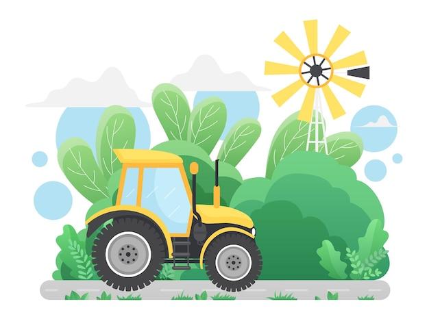 Trattore agricolo guida su strada di campagna nel paesaggio rurale del paese paesaggio rurale