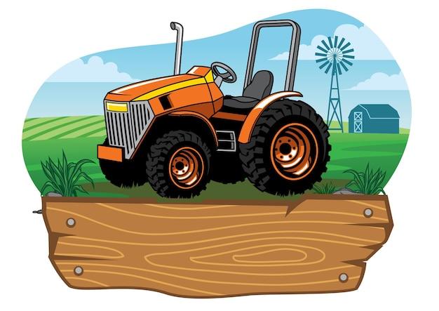 Trattore agricolo nel terreno agricolo